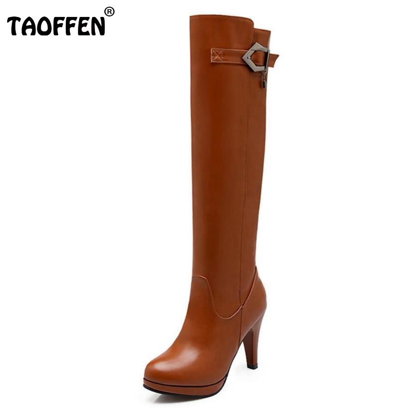 TAOFFEN Women Over Knee Thigh High Boot Women Pointed Toe Platform Shoes Women Thin High Heels Shoes Sexy Woman Boots Size 32-48 ...