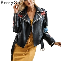 BerryGo Floral PU Leather Appliques Rivet Women Basic Jackets Streetwear Black Zipper Outerwear Femme Autumn Faux