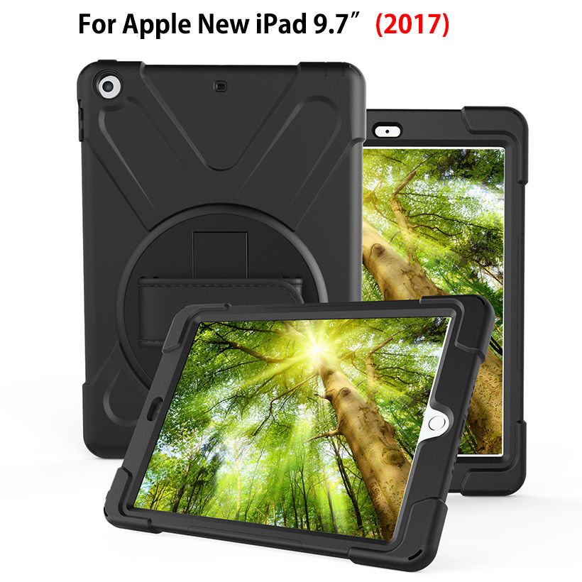 Armor Heavy Duty Case For Apple New iPad 9.7 2017 A1822 Cover Funda Tablet Kids Safe Shockproof Silicone Hard Stand Hand Shell for apple ipad 9 7 2017 case with stand shockproof silicone hard pc heavy duty rugged armor defender cover for new ipad 9 7 2017