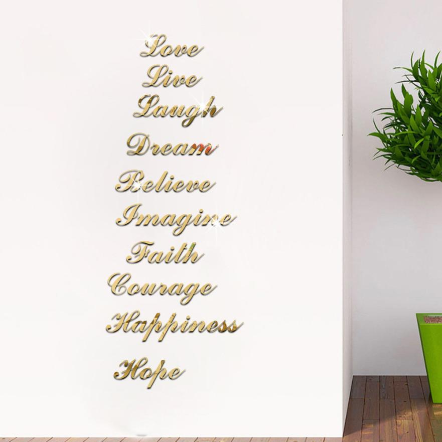 Acrylic Silver Mirror Effect Quote Word Art Stair Decals