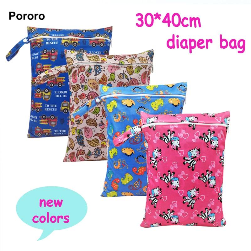 PORORO Plain Color Waterproof Nappy Bag With Hanging Handle, Reusable Zipper Design Baby Cloth Diaper Bag 5pcs,bag For Wet Nappy