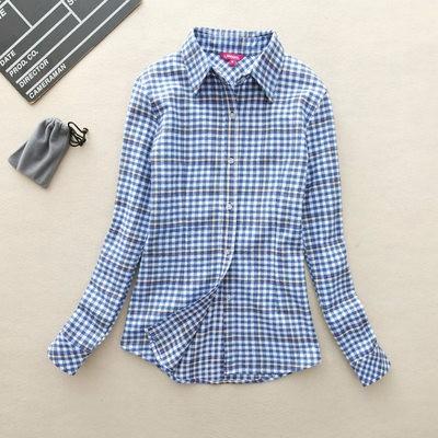 2017 hot sprzedaż jesień zima panie kobieta casual cotton lapel bluzka bluzki z długim rękawem kratę koszula kobiet szczupła odzieży wierzchniej clothing 22