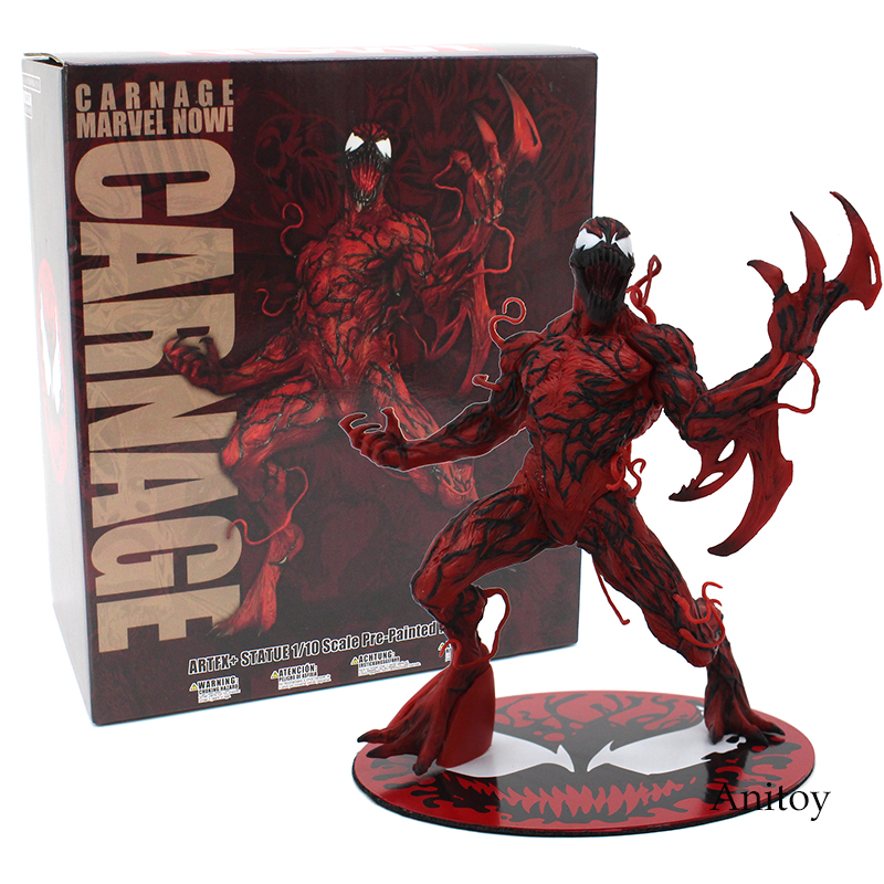 The Amazing Spider-Man spiderman Venom Carnage ARTFX + STATUE 1/10 Scale Pre-Painted Figure Model Kit 17cm the amazing spider man venom cletus kasady carnage pvc action figure toy spiderman villain venom collectible model toy gift n038