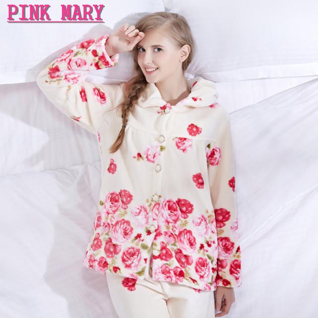 A la Venta Más El Tamaño Mujeres Feminino Thich Polar Pijamas de Invierno de Franela de Manga Larga Pijamas Para Las Mujeres ropa de Dormir Homewear