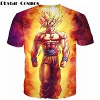 2016 Harajuku Style Classic Anime Dragon Ball Z Super Saiyan 3D T Shirt Bright Fire Son