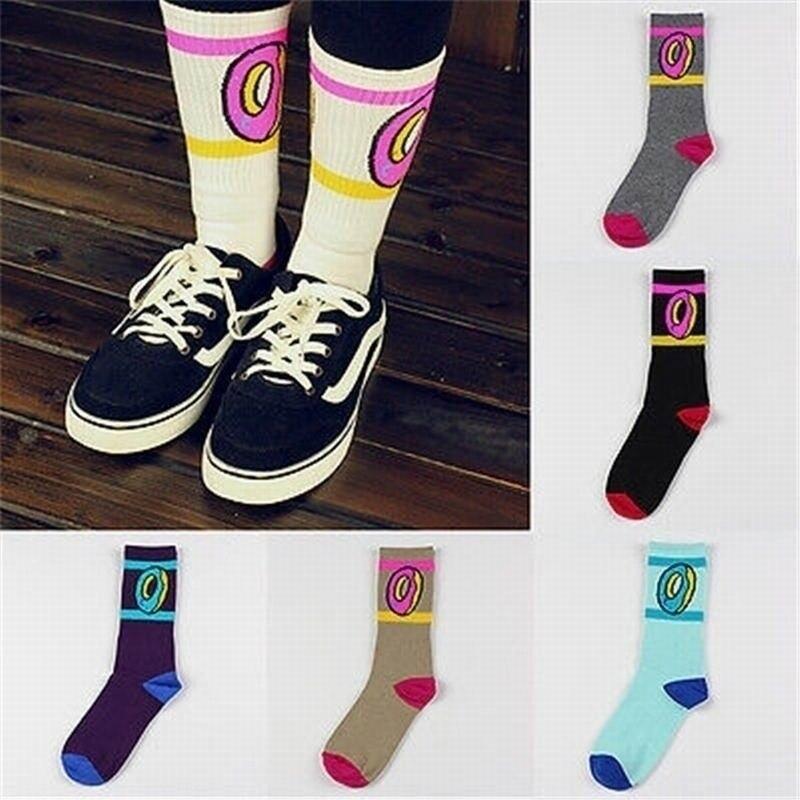 Fashion Cute Donuts Pattern Socks Wool Cotton Middle Hiphop Skateboard Casual Women Men Long Socks BM88