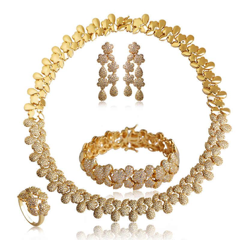 Dazz набор украшений с цирконием Звездные слёзы комплекты украшений для женщин Свадебное золотое ожерелье браслет серьги кольца набор Bijuterias