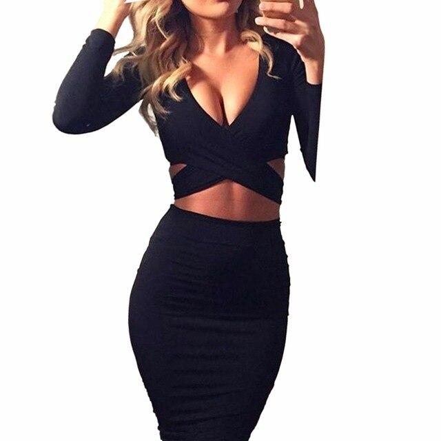 Nadafair красный черный, белый цвет с длинным рукавом эластичный хлопок теплая Платья для вечеринок Vestidos Сексуальная Миди карандаш клуб облегающее Бандажное платье