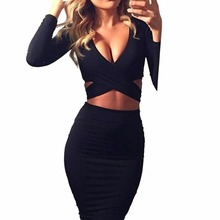 Red Black White Long Sleeve Elastic Cotton Warm Party Dresses 2015 Vestidos Sexy Midi Pencil Club Bodycon Bandage Dress