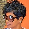 Короткие Вьющиеся Парики Для Чернокожих Женщин Естественно Парик женская Высокое Качество Афро-Американской Короткие Парики Короткие Вьющиеся Прически Черный парик