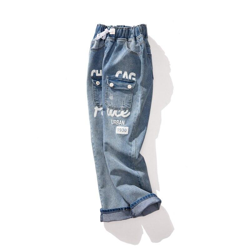 Plus Femme Crayon Bleu Pour Pantalon Taille Élastique Poche Printemps La Été Femmes Des Jeans 2019 Lettre Denim qRBFPww