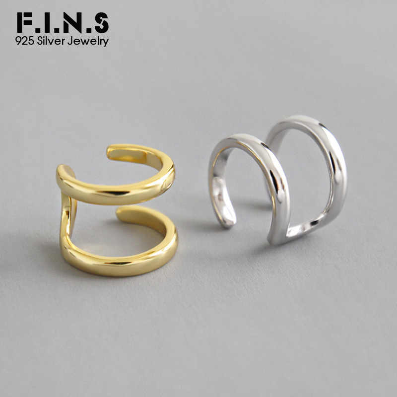 F.i.n.s 1 PC 925 Sterling Silver Klip Pada Anting-Anting Korea Fashion Double Layer Manset Telinga Anting-Anting Tanpa Tusukan Telinga Tunggal klip