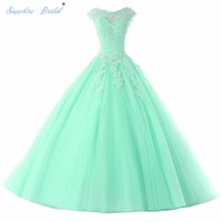 Princess Long Party Gowns Vestido De 15 Anos De Cap Sleeve Appliques Open Back Pink Turquoise
