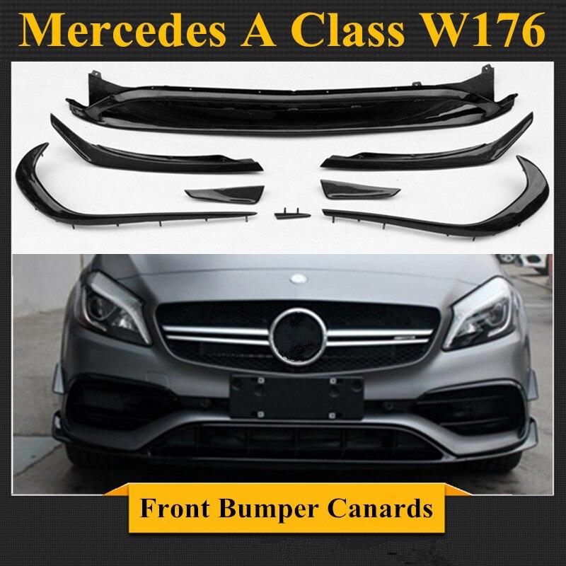 Mercedes W176 In Fibra di Carbonio/ABS Paraurti Anteriore Lip Canards 8 pezzi/set A45 Stile AMG per Mercedes Classe A W176