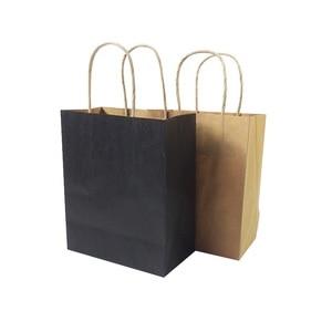 Image 3 - 40ピース/ロットクラフト紙ハンドル18 × 15 × 8センチメートル結婚式誕生日パーティーギフトパッケージバッグクリスマス新年卸売