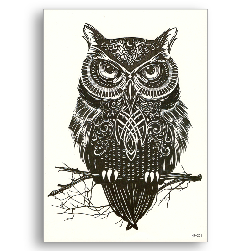 OWL Fake Tattoo Water Transfer Waterproof Temporary Bird Sticker Flower Arm Women Men Sexy Beauty Body Art Cool Stuff Cheap Fine