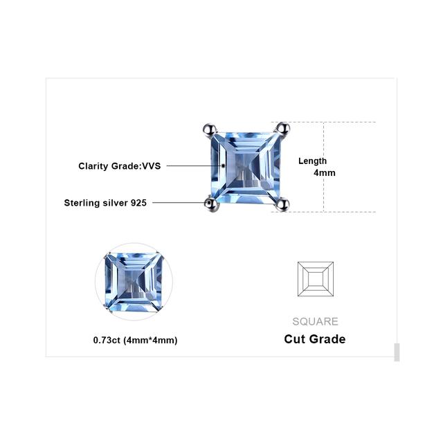 Natural Sky Blue Topaz 925 Solid Sterling Silver Fashion Women Dazzling Princess Cut Stud Earrings For Women