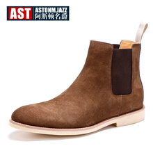 US 6-12 Big Size 45 Cow Suede Leather Mens Chelsea Boots Man Pull On Pointed Toe Winter Shoes