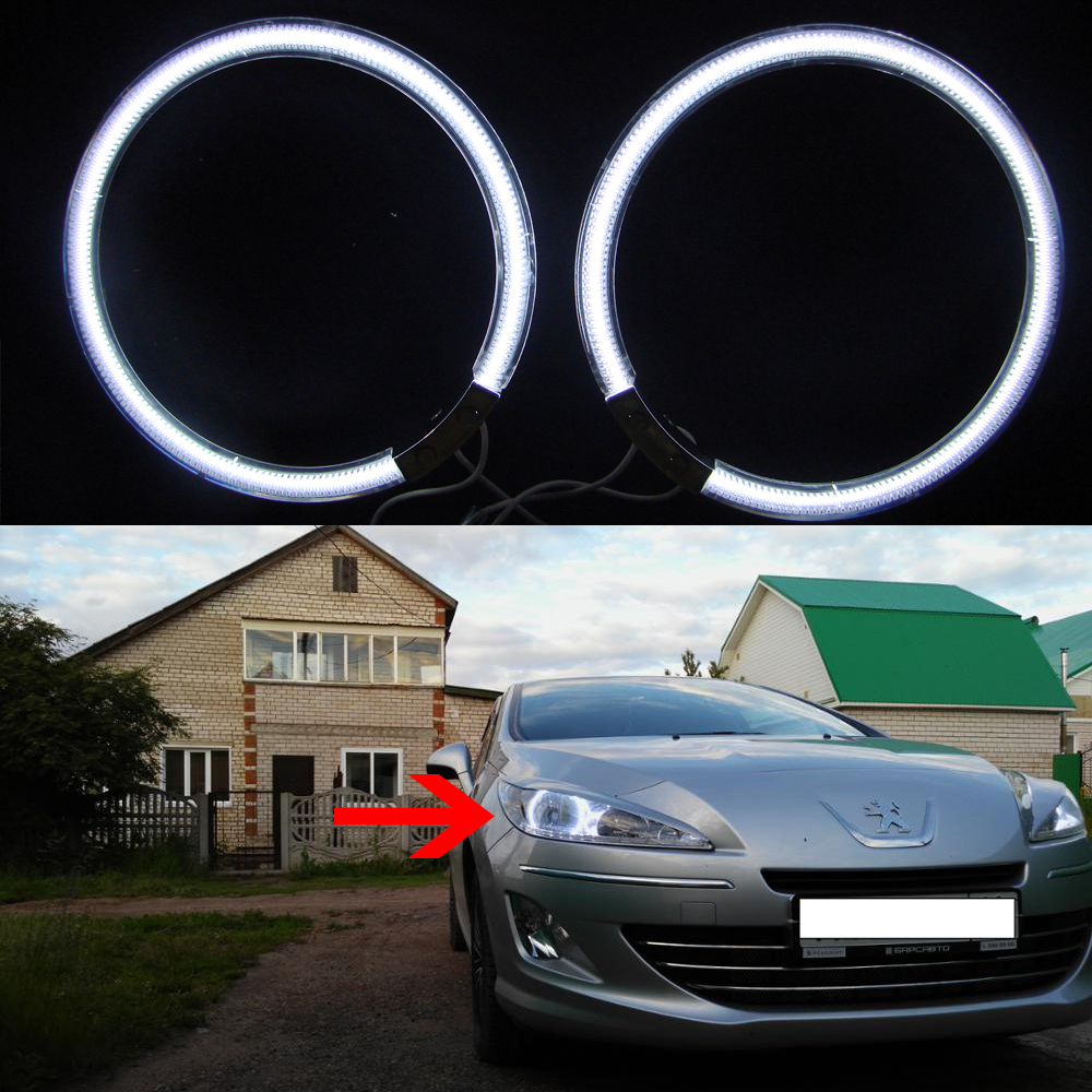 все цены на  For Peugeot 408 2010 2011 2012 2013 Halogen headlight Excellent Ultra bright illumination CCFL Angel Eyes Halo Ring kit  онлайн