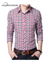 unisplendor 2018 Autumn New Classic Long Sleeve Plaid Men Shirt Slim Fit Mens Check Cotton Shirts Casual Dress Shirt 4XL YN673