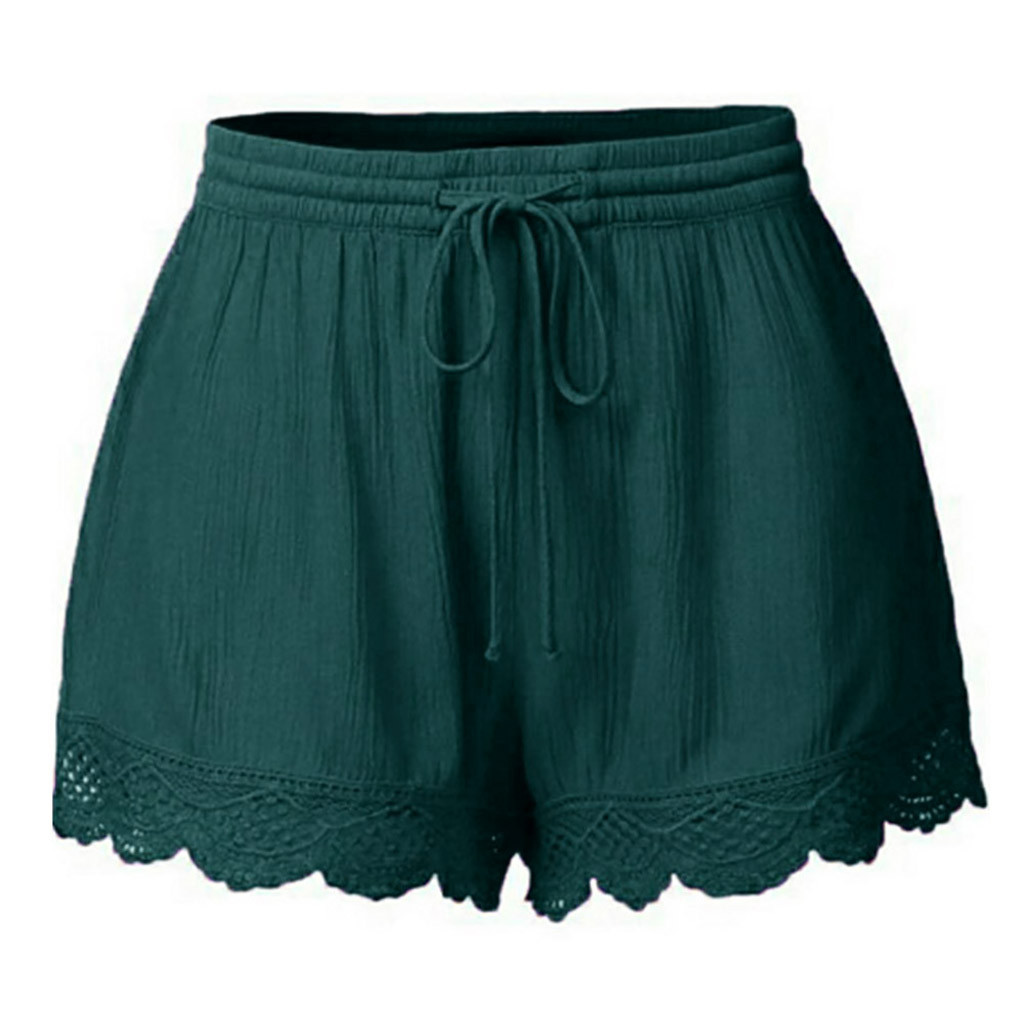 Plus Size Summer Women's Casual Shorts Lace Tie Solid Color Lace Sports Gym Green Biker Shorts