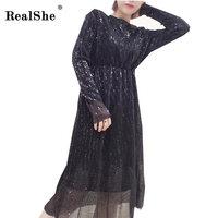 RealShe Women Party Club Dress Fashion Sequins Dresses Elegant High Waist Bodycon Dress Womans Long Dresses