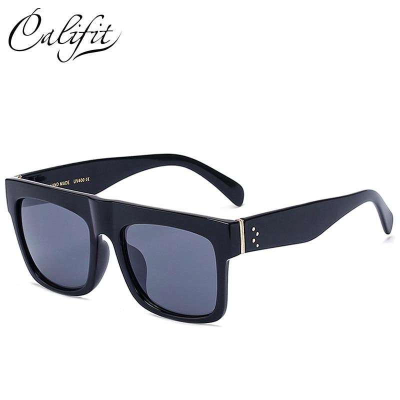 CALIFIT Quadrado Do Vintage Óculos De Sol Dos Homens Rebites Fresco Flat Top  Design Da Marca 5a26261c04