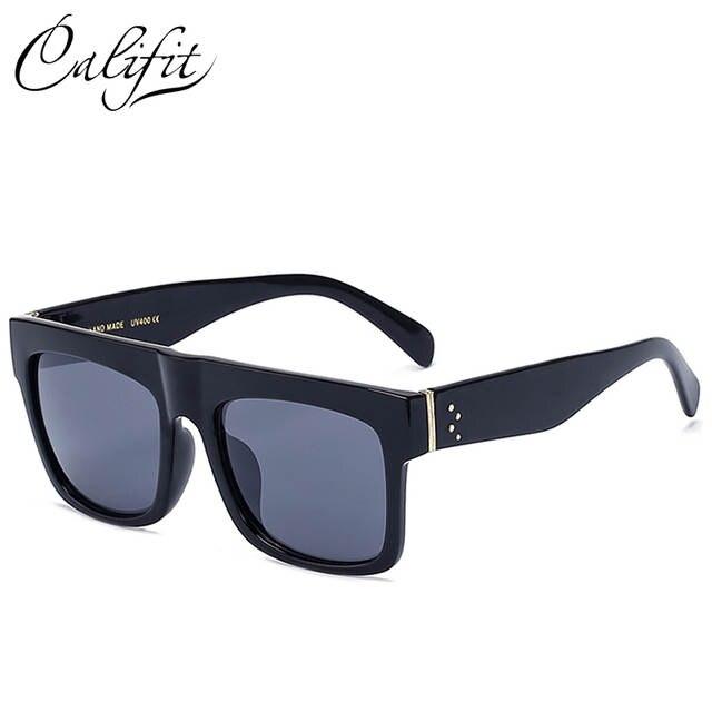 2c0421cb6bbe2 CALIFIT Quadrado Do Vintage Óculos De Sol Dos Homens Rebites Fresco Flat Top  Design Da Marca