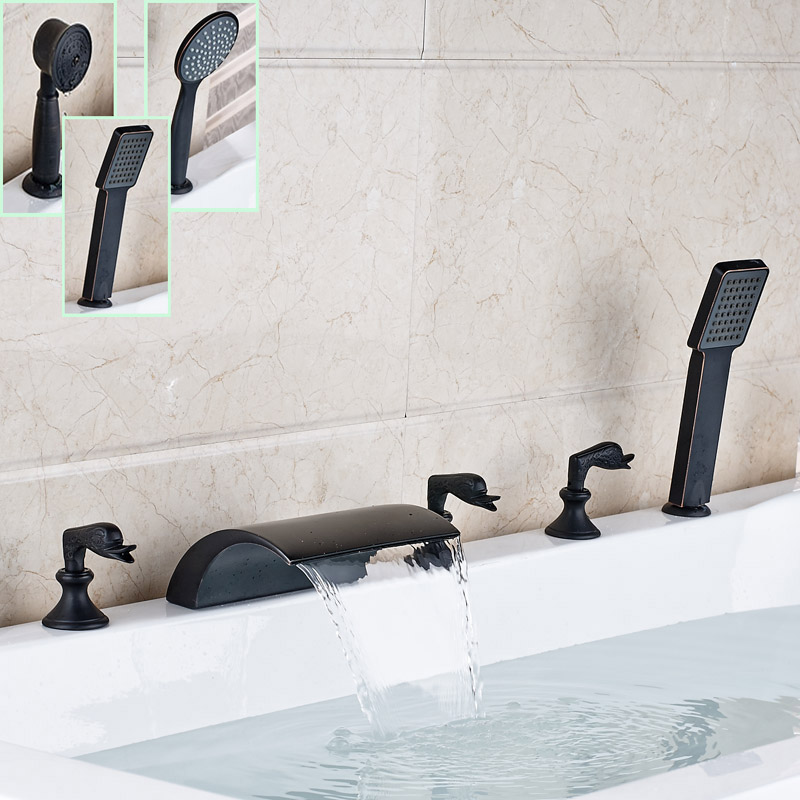 Deck Mounted Waterfall Bath Spout Mixer Faucet 5pc Oil Rubbed Bronze Bathroom Tub Sink Faucet with Handshower