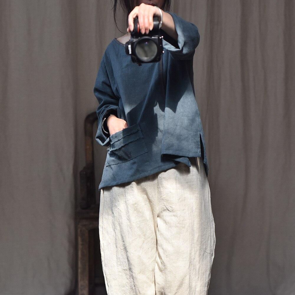 Printemps Blouse Vintage Mosaïque Beige Été Hauts Lâche Solide vintage Dessus Dames Spliced Femelle Rosered Couleur Ramie 2019 De bleu Chemise Femmes 5qBxz8