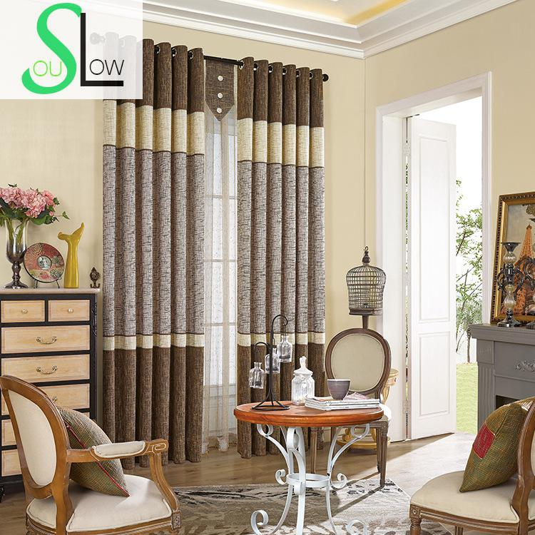 Coffee Room Cotton Stitching Shade Blackout French Window Striped Curtains For Living Cortinas 3d Blinds Luxury