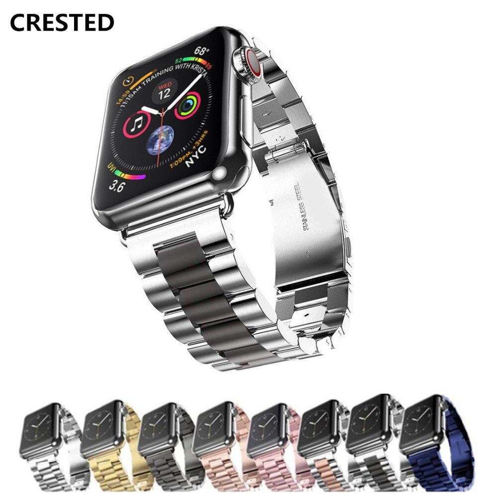 CRESTED Edelstahl strap Für Apple Uhr band serie 4 44mm/40mm correa iwatch 3 2 1 42mm/38mm armband link Armband gürtel