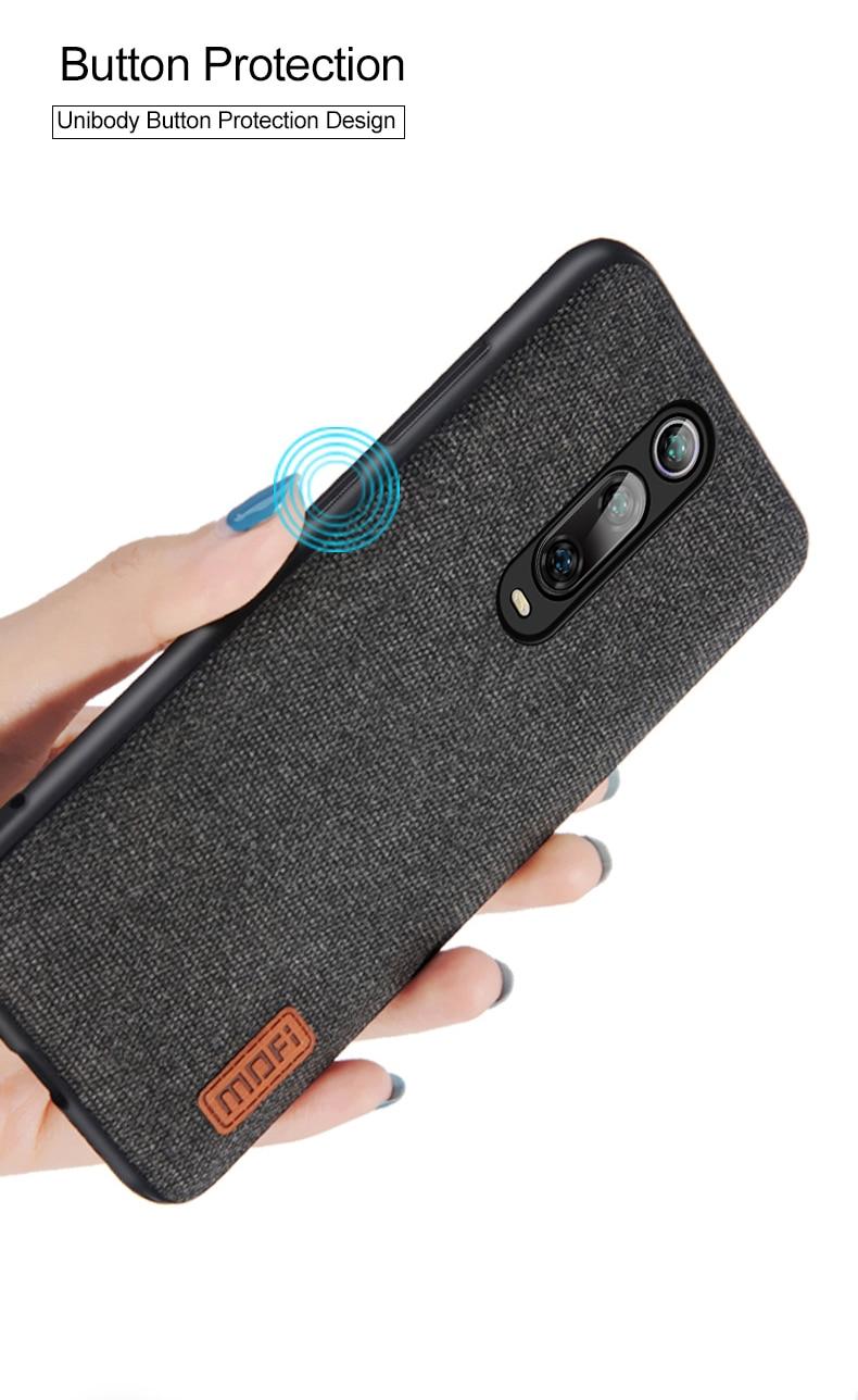 HTB1tJKdaRWD3KVjSZKPq6yp7FXa9 Capinha capa case telefone Para xiaomi mi 9t caso capa de pano tecido mofi original mi9t pro capa dura protetora silicone à prova de choque volta caso