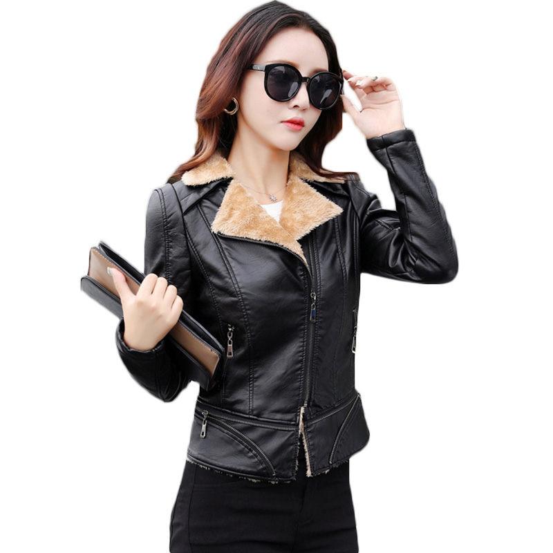 Short Plus Velvet Black Slim Women   Leather   Jacket 2018 Autumn Winter New Large Size Thick Warm Locomotive PU   Leather   Coat LQ343