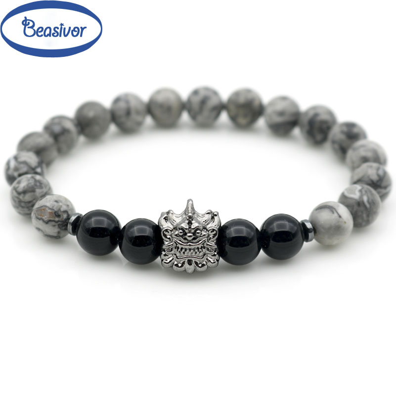 Pi Xiu Head Money Symbol Black Loose Onyx Strand Stretch Bracelets Wealthy Lucky Family Jewelry