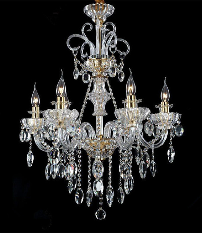 Italy style Restaurant crystal chandelier 6 lights modern candle led chandeliers coffee shop chandelier dining room  kids light