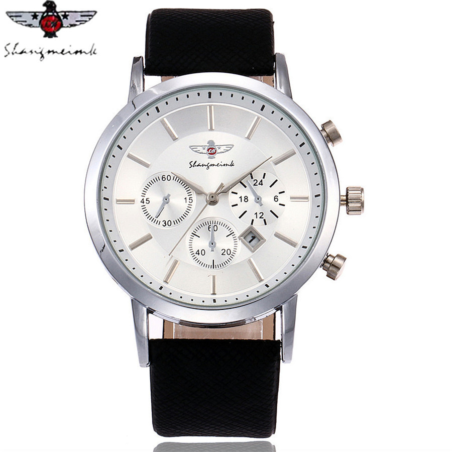 SHANGMEIMK Brand Men Watch Luxury Fashion Calendar Business Watch Casual Leather Strap Quartz Wristwatches Relogio Masculino Hot 3