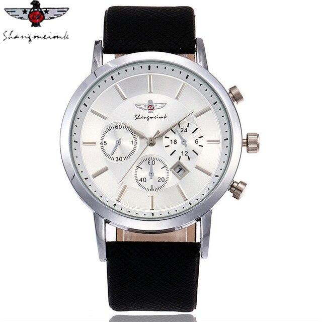 SHANGMEIMK Brand Men Watch Luxury Fashion Calendar Business Watch Casual Leather Strap Quartz Wristwatches Relogio Masculino Hot 3
