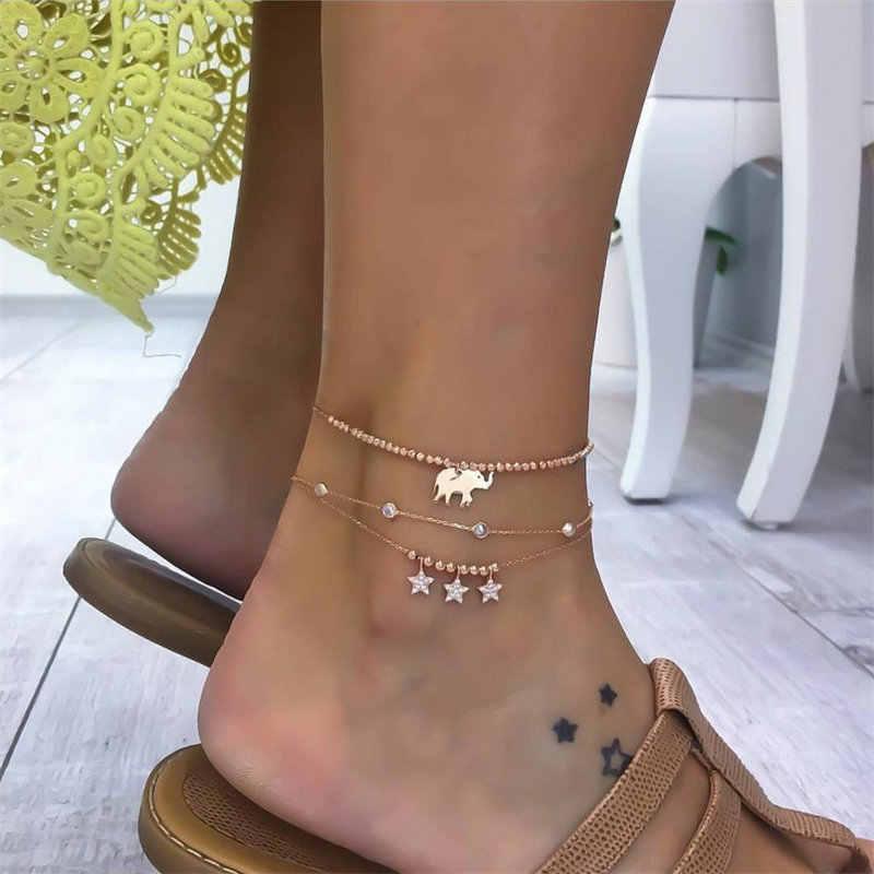 NEWBUY 3 ชิ้น/เซ็ตอินเทรนด์ผู้หญิง Anklets ฤดูร้อน Beach เครื่องประดับ GOLD สีน่ารักช้าง Star Charm สร้อยข้อมือสำหรับข้อเท้า
