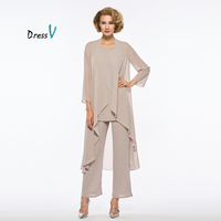 Dressv Mother Of The Bride Dress Pants Suit With Long Jacket Long Sleeves Floor Length Formal