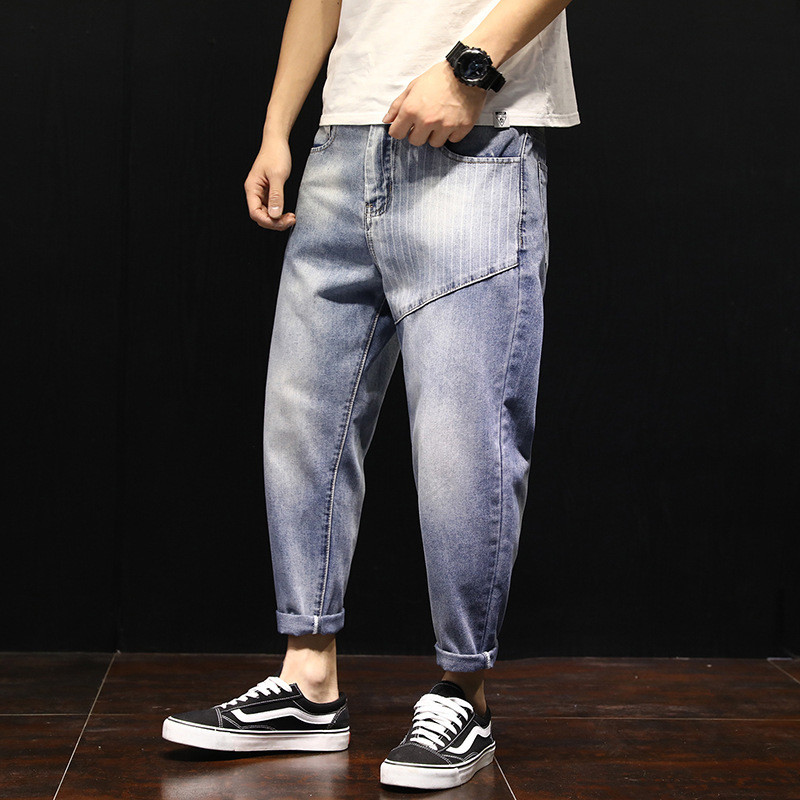 New Summer Fashion Mens Jeans Thin Loose Hip-hop Holes Ripped Striped Ankle-Length Denim Harem Pants with Big Pocket Streetwear
