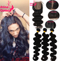 7A Silk Base Closure With Bundles Peruvian Virgin Hair Body Wave With Silk Top Closure 3 Human Hair Weave Bundles And Closure