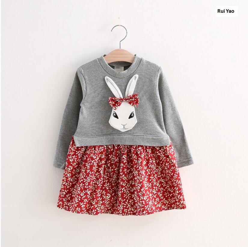 YG267835 2017 New Fashion Baby Girls Dress Rabbit Bunny Patchwork Girl Dress Full Sleeve Baby Dress Girls Clothes leveling sensor yg 128 lehy hope optoelectronics magnetic sensors sleeve new