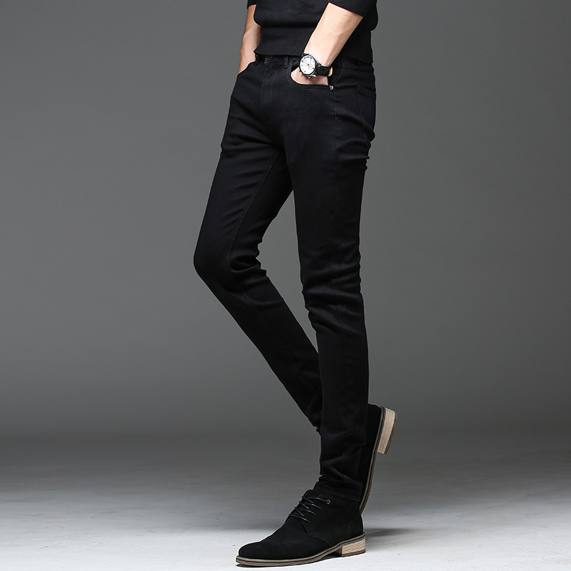 Batmo 2019 new arrival high quality casual slim elastic black jeans men ,men's pencil pants ,skinny jeans men 2108 32