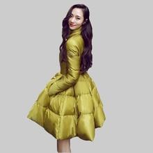 New 2015 Women Winter White Duck Down Jacket Fashion Big Skirt Style Thicken Warm Parkas Mujer Korean Winter Down Coat DQ271
