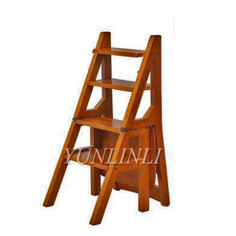 Construction Tools Nortonberg Wood Folding Stair Chair Multi-function Step Stool Wooden Ladder Creative Ladder Chair High Quality Materials Construction Tool Parts