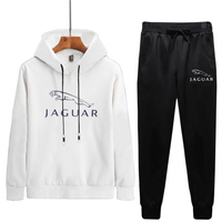 Men's 2019 Spring Long Sleeve Sports Running Set JAGUAR Print Solid Color Jogging Outdoor Sports Suit Young Hooded Sport Clothes