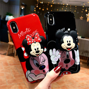 3D Cute Cartoon Mickey Minnie Case For iPhone X 8 8plus Cases Grip Holder Phone Cases For iPhone 7 6s 6 Plus Cover Coque Fundas Солдат
