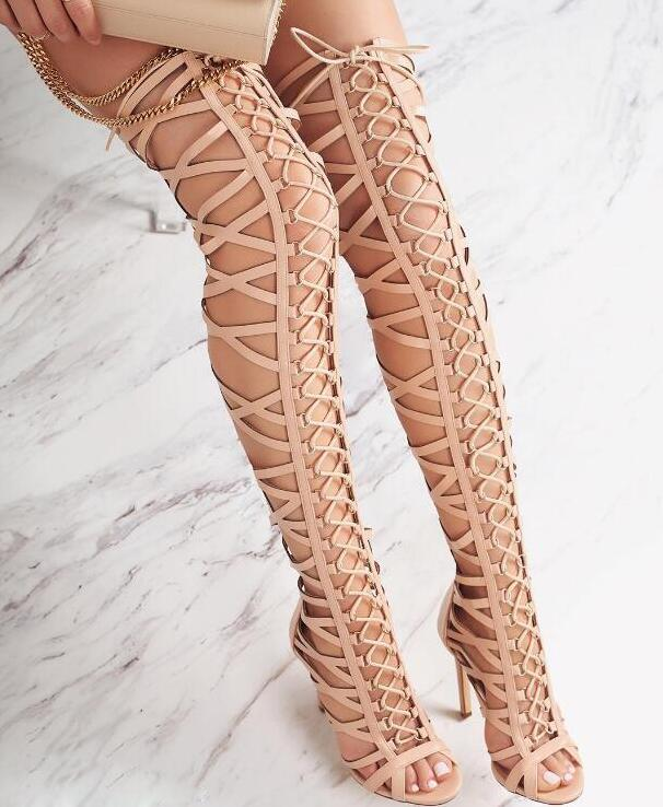 Summer Fashion Women Gladiator Sandal Boots Sexy Peep Toe Ladies High Heel Over The Knee Boots Lace Up Caged Boots 2017 summer hot cutout suede leather women peep toe boots ladies sexy lace up gladiator boot female high heel over the knee boot
