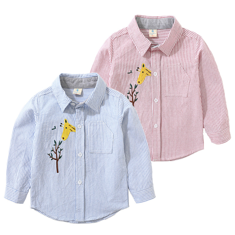 2018 Autumn   Boutique children's Clothing Boy children's Embroidery Cartoon Deer Cotton long-sleeved Shirt Boy Shirt SXL-sy157
